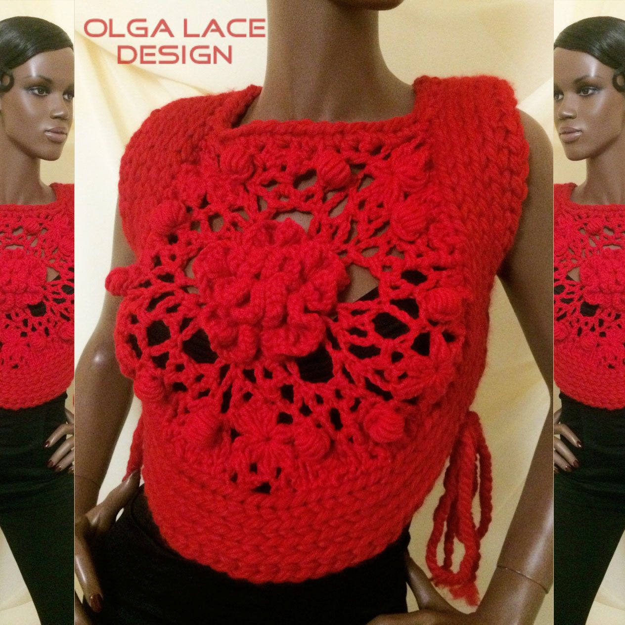 Knitted vest from Olga Lace – shop online on Livemaster with ...