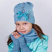 Работы для детей, ручной работы. Ярмарка Мастеров - ручная работа Комплектдля девочки: шапочка, снуд и митенки. Handmade.