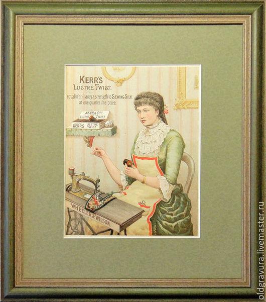 Винтажные предметы интерьера. Ярмарка Мастеров - ручная работа. Купить 1870-80е гг. Гравюра Девушка за швейной машинкой. Handmade.