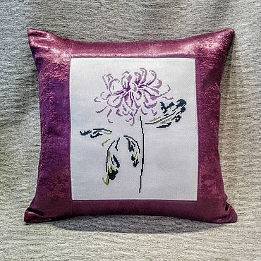 Для дома и интерьера handmade. Livemaster - original item Pillow: Decorative pillow with chrysanthemum embroidery