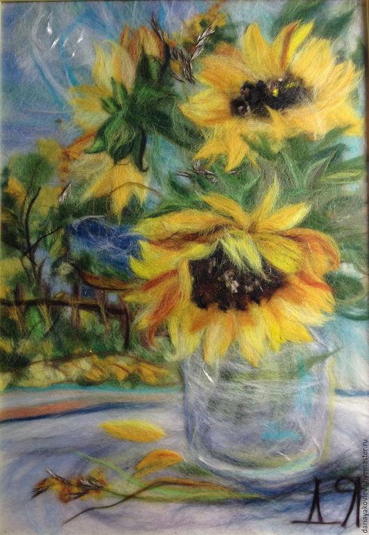 Картины цветов ручной работы. Ярмарка Мастеров - ручная работа. Купить Картина из шерсти Подсолнухи. Handmade. Желтый, картина с цветами