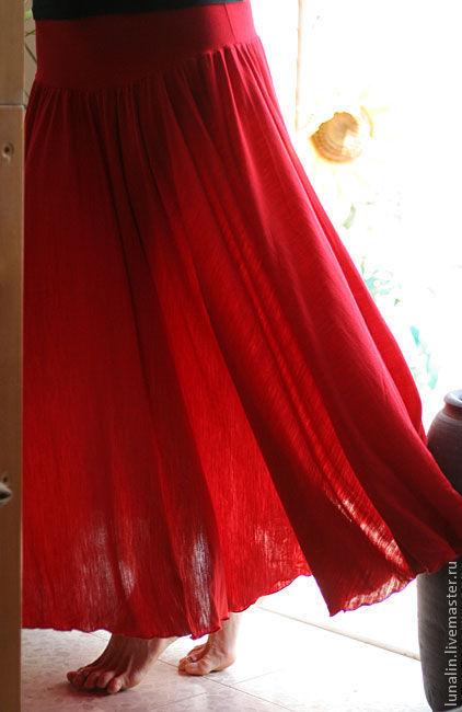 """Юбки ручной работы. Ярмарка Мастеров - ручная работа. Купить Юбка """"Красная  и Прекрасная""""  распродана.. Handmade. Юбка, полный клеш"""