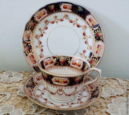 Винтажная посуда. Ярмарка Мастеров - ручная работа. Купить Английская чайная тройка «Brown & Steventon». Handmade. Английский фарфор