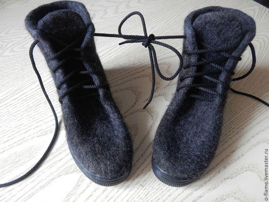 Обувь ручной работы. Ярмарка Мастеров - ручная работа. Купить Валяные ботиночки. Ручная работа.. Handmade. Темно-серый, обувь