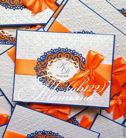 Свадебные аксессуары ручной работы. Ярмарка Мастеров - ручная работа. Купить Приглашения оранжево-синие. Handmade. Комбинированный, свадебные аксессуары