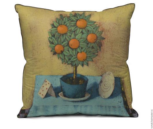"""Текстиль, ковры ручной работы. Ярмарка Мастеров - ручная работа. Купить наволочка """"Фокус с апельсиновым деревом"""". Handmade. Оранжевый, наволочка"""