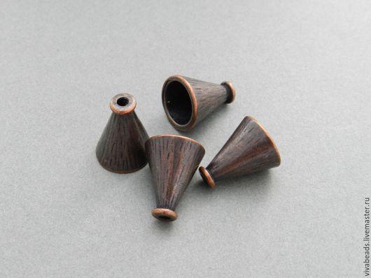 Шапочка концевик под МЕДЬ, размер 18*15 мм, отверстие 2 мм, внутренний диаметр 10 мм, материал - сплав металлов (арт. 1659)