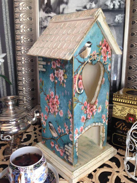 Кухня ручной работы. Ярмарка Мастеров - ручная работа. Купить Яблоневый цвет, Чайный домик, декупаж. Handmade. Голубой