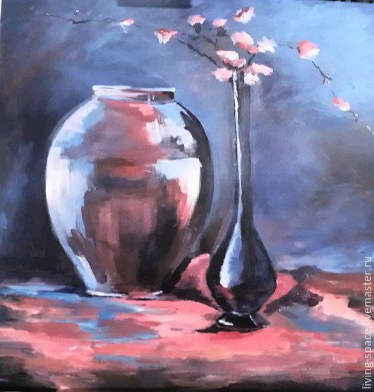 Натюрморт ручной работы. Ярмарка Мастеров - ручная работа. Купить Натюрморт с вазами. Handmade. Комбинированный, смысл, холст на картоне