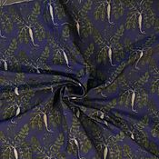 Ткани ручной работы. Ярмарка Мастеров - ручная работа Жаккард с репками,необычный рисунок на сдержанном синем фоне. Handmade.