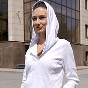 Одежда handmade. Livemaster - original item White blouse with hoodie. Knitted white t-shirt.. Handmade.