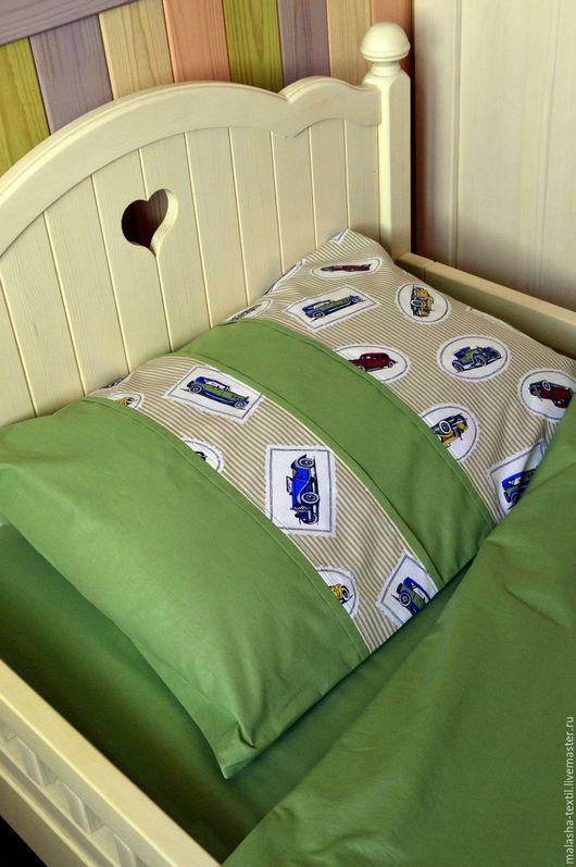 """Текстиль, ковры ручной работы. Ярмарка Мастеров - ручная работа. Купить Комплект постельного белья """"Ретро машинки"""". Handmade."""