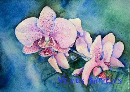 Картины цветов ручной работы. Ярмарка Мастеров - ручная работа. Купить Орхидеи. Картина акварелью. Оригинал.. Handmade. Орхидеи, цветы