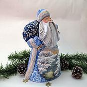 Сувениры и подарки handmade. Livemaster - original item Santa Claus wooden painted with winter scene. Handmade.
