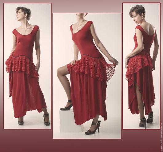Платья ручной работы. Ярмарка Мастеров - ручная работа. Купить Красная роза. Handmade. Ярко-красный, вечернее, Новый Год