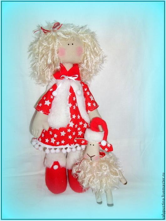 Куклы тыквоголовки ручной работы. Ярмарка Мастеров - ручная работа. Купить Девочка и овечка. Handmade. Ярко-красный, тыквоголовка