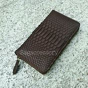 Сумки и аксессуары handmade. Livemaster - original item the wallet is made of genuine leather and python skin. Handmade.
