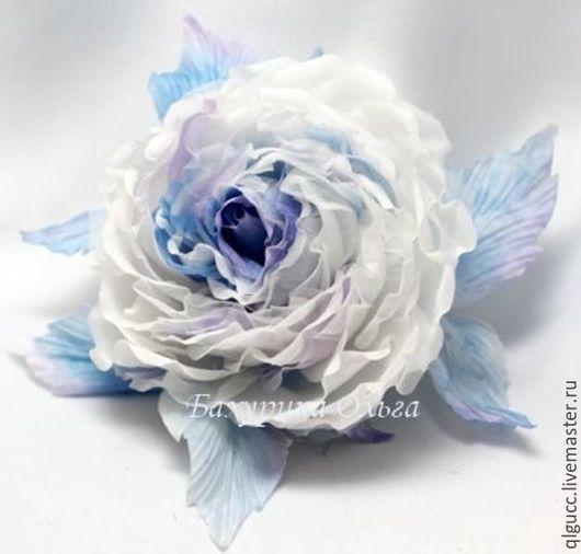 Броши ручной работы. Ярмарка Мастеров - ручная работа. Купить Цветы из шёлка.Роза Клаудиа. Handmade. Комбинированный, роза брошь
