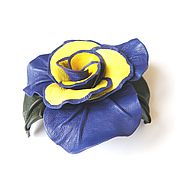 Украшения handmade. Livemaster - original item Brooch flower leather rose