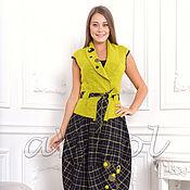 Одежда ручной работы. Ярмарка Мастеров - ручная работа Жилет лимонный из валяного шерстяного трикотажа A1C. Handmade.