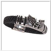 Украшения handmade. Livemaster - original item Skull bracelet men`s leather no 1 accessories steel 316L. Handmade.