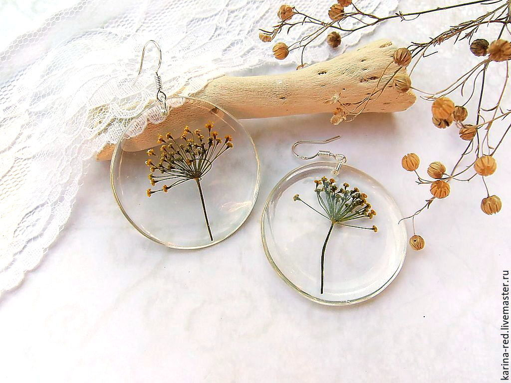 buy transparent earrings made of resin with real flowers and herbs earrings ukropom epoxy jewelry eco jewelry, buy boho accessories