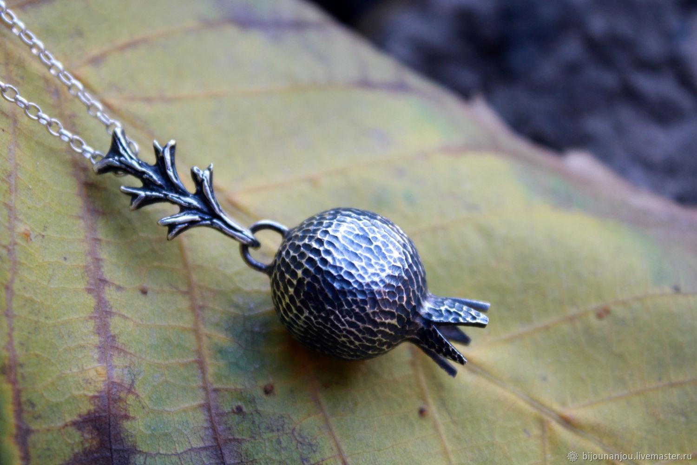 Handmade silver garnet pendant with chain, Pendants, Yerevan,  Фото №1