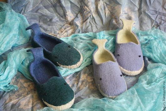 Обувь ручной работы. Ярмарка Мастеров - ручная работа. Купить Тапки валяные Киты. Handmade. Разноцветный, экообувь, шерсть кардочёс