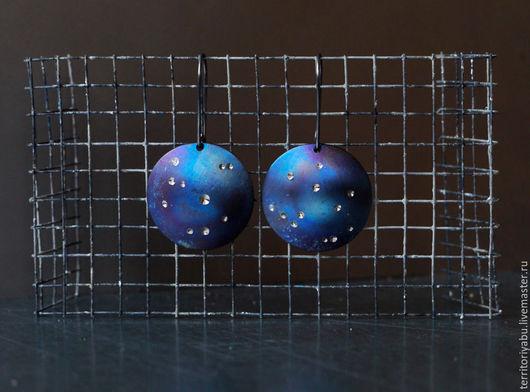 Серьги ручной работы. Ярмарка Мастеров - ручная работа. Купить Титановые серьги со звездами (коллекция PROSTOTA). Handmade. Синий