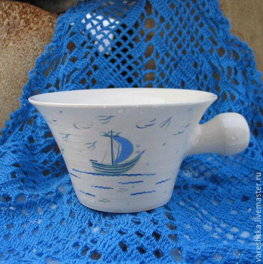 Ванная комната ручной работы. Ярмарка Мастеров - ручная работа. Купить Чаша для бритья Сильному духом. Handmade. Белый, для мужчин