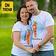 """Футболки, майки ручной работы. Ярмарка Мастеров - ручная работа. Купить Семейные футболки """"Морковки"""" (957). Handmade. Белый"""