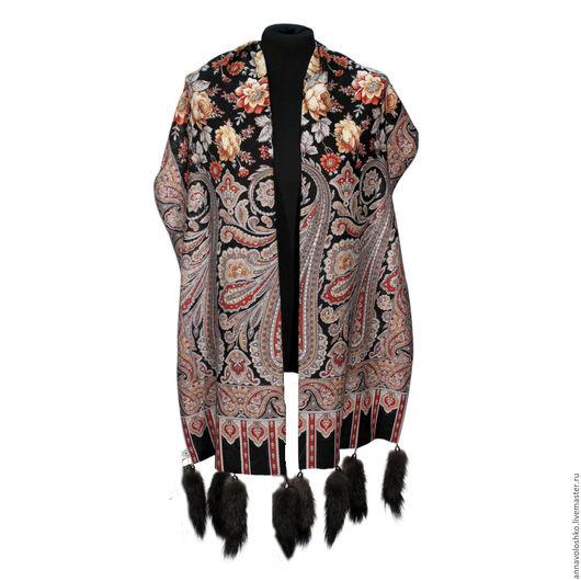 Палантины и шарфы с меховой опушкой. лиса, соболь,  песец.