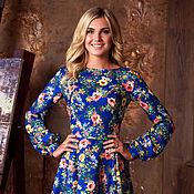 Одежда ручной работы. Ярмарка Мастеров - ручная работа Короткое летнее цветочное платье, синее нарядное платье до колен. Handmade.