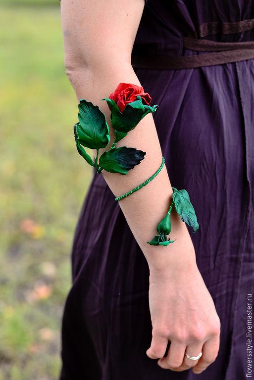 Браслеты ручной работы. Ярмарка Мастеров - ручная работа. Купить Браслет из кожи Волшебная роза Цветы из кожи. Handmade. Коралловый