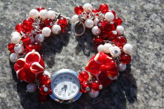 Браслеты ручной работы. Ярмарка Мастеров - ручная работа. Купить Часы. Handmade. Бусины лэмпворк, лэмпворк, бусинки, бусы, голубой