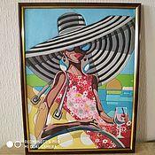 Картины ручной работы. Ярмарка Мастеров - ручная работа Картины: Пляжная красотка (По картине Триш Биддл). Handmade.