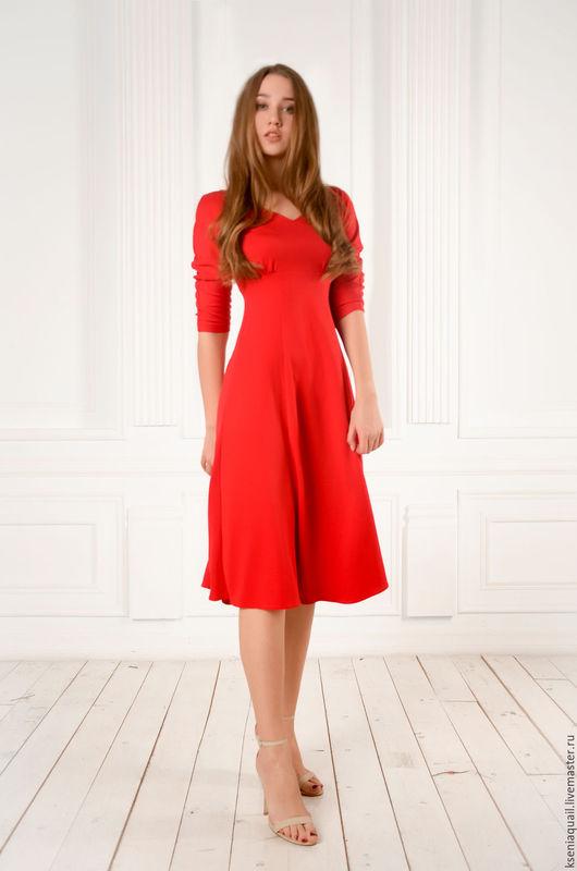 """Платья ручной работы. Ярмарка Мастеров - ручная работа. Купить Платье """"Вера"""" красное. Handmade. Ярко-красный, платье в офис"""