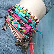 Украшения handmade. Livemaster - original item Boho bracelet with stones and suede