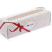 Упаковочная коробка ручной работы. Ярмарка Мастеров - ручная работа Коробочка для кондитерских изделий «С любовью», 18 х 5,5 х 5,5 см. Handmade.