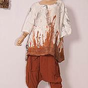 Одежда ручной работы. Ярмарка Мастеров - ручная работа комплект туника штаны бохо ,,Терракот,,. Handmade.