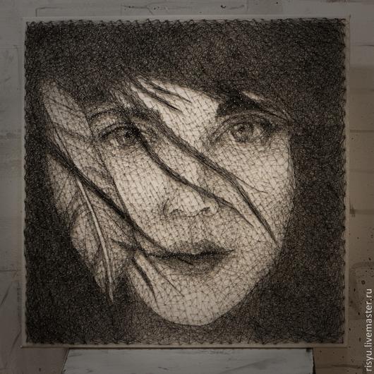 """Люди, ручной работы. Ярмарка Мастеров - ручная работа. Купить """"Девушка с пером"""" в стиле стринг арт. Handmade. Картина в подарок"""