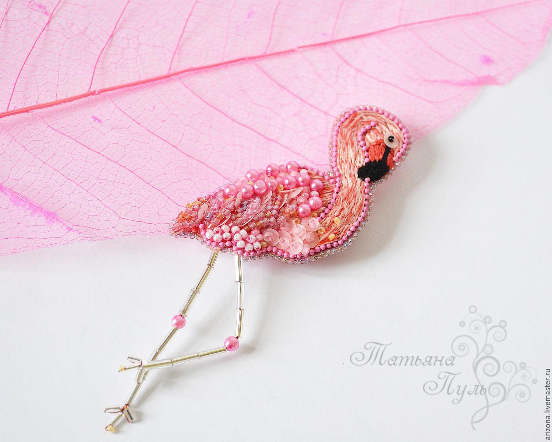 Фламинго из бисера фото