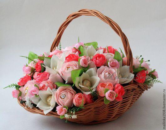 """Букеты ручной работы. Ярмарка Мастеров - ручная работа. Купить Букет из конфет, композиция из конфет """"Зефир"""". Handmade. Розовый"""