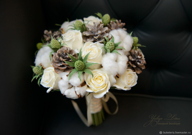 Свадебные цветы ручной работы. Ярмарка Мастеров - ручная работа. Купить Зимний букет невесты из полимерной глины с хлопком. Handmade.