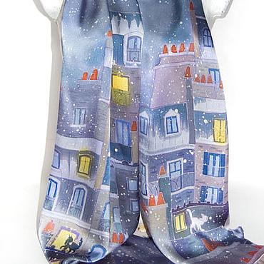 Аксессуары handmade. Livemaster - original item Silk hand-painted scarf - Snow cat. Colorfull scarf. Handmade.