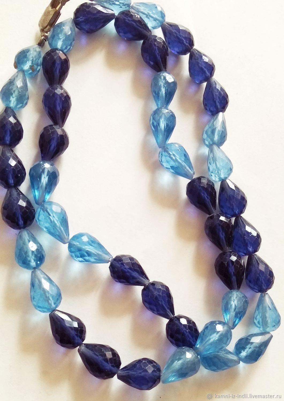 Шпинель голубая и цвет индиго капли бусины, Бусины, Москва, Фото №1