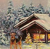 Картины и панно ручной работы. Ярмарка Мастеров - ручная работа Зимний домик с охраной. Handmade.