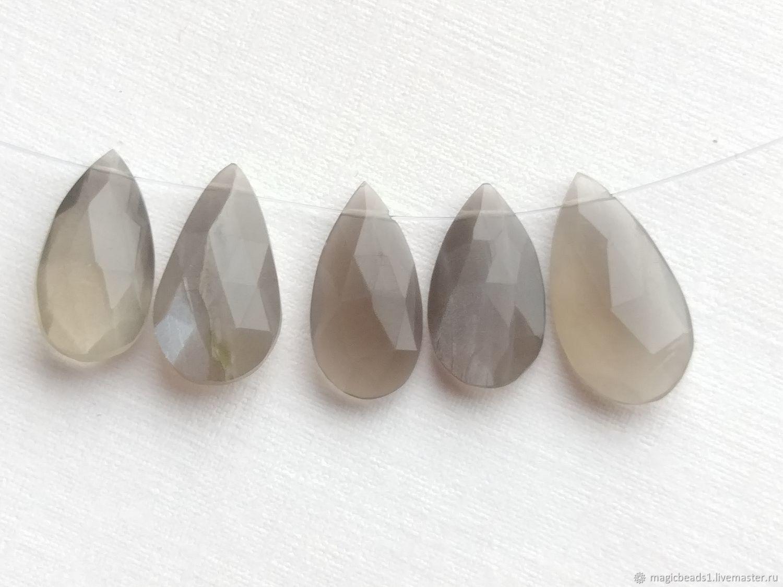 18 мм Крупный, Лунный камень, бриолет огранка, груша, Бусины, Ковров, Фото №1