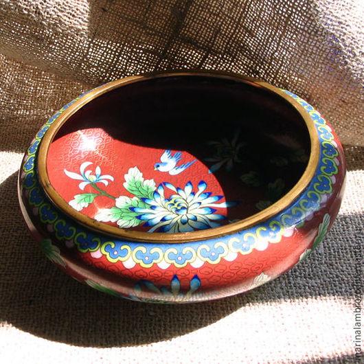 Винтажная посуда. Ярмарка Мастеров - ручная работа. Купить Латунная ваза круазоне Китай. Handmade. Коричневый, ваза с хризантемами
