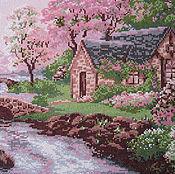"""Картины и панно ручной работы. Ярмарка Мастеров - ручная работа Вышивка крестом """"Весенний пейзаж"""". Handmade."""